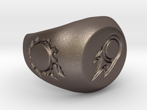 FFXIV BLM Signet Ring  in Polished Bronzed Silver Steel: 6 / 51.5