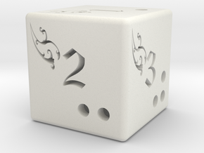 Fantasy six side dice in White Strong & Flexible
