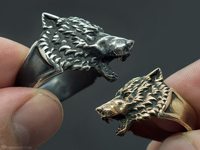 Wolf Head Ring in Raw Brass: 11.5 / 65.25
