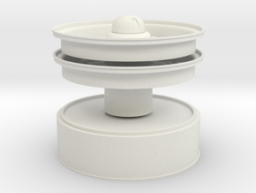 1/6 Hub & Rims and tow cap in White Natural Versatile Plastic