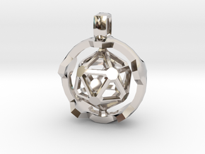 Icosahedron in Rhodium Plated Brass