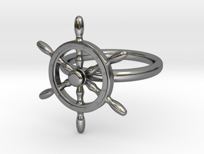 Nautical Steering Wheel Ring - US Size 08 in Interlocking Polished Silver