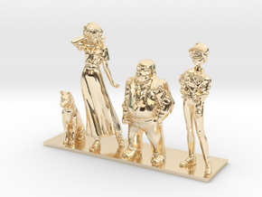 1/64 Racing Team Staff for Diorama in 14k Gold Plated Brass
