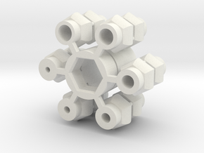 Universal Joint - Single version in White Natural Versatile Plastic
