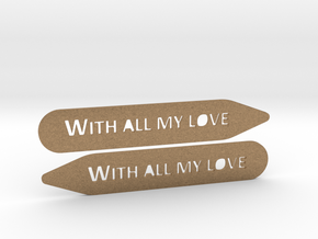 Collar stays: With All My Love in Raw Brass