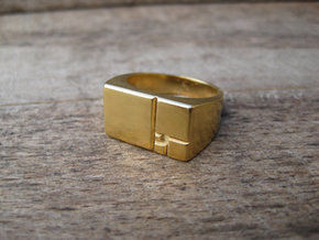 Golden Squares Ring 16.92mm ID US size 6.5 UK M1/2 in Polished Bronze