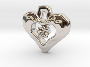 Heart Pendant with Gem holder in Rhodium Plated Brass