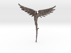 Guardian Angel in Polished Bronzed-Silver Steel: Medium