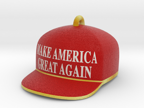 Trump Make America Great Again Red Hat Ornament in Full Color Sandstone