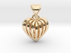 Coeur en cage in 14K Yellow Gold