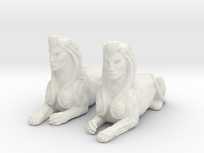 Pair of Sphinx Statues in White Natural Versatile Plastic