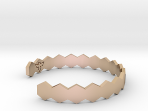 Geometric Hex Bracelet S-XL in 14k Rose Gold Plated Brass: Small