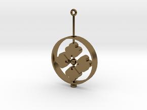 Family Emblem: Hanabishi (Single) in Polished Bronze (Interlocking Parts)