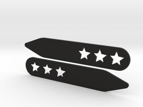 Collar stays: 3 Stars  in Black Natural Versatile Plastic