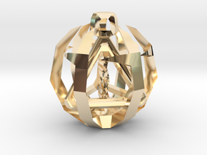 Tetrahedron in 14k Gold Plated Brass