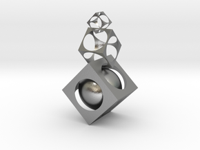 Square ball in Interlocking Raw Silver