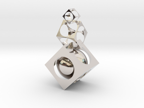 Square ball in Rhodium Plated Brass