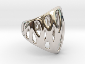 WireFrame 1 64k in Rhodium Plated Brass: Small