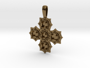 1475 medieval cross pendant in Polished Bronze