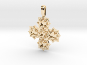 1475 medieval cross pendant in 14k Gold Plated Brass
