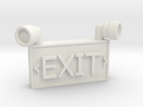 1/10 SCALE EXIT SIGN FOR GARAGE in White Natural Versatile Plastic