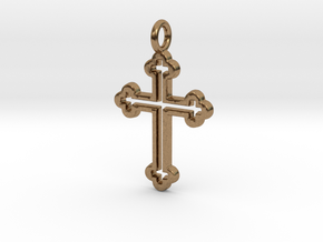 Classic Cross 3 Pendant in Natural Brass