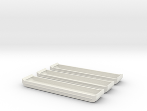 1/144 Scale Bridge Pontoons (3) in White Natural Versatile Plastic