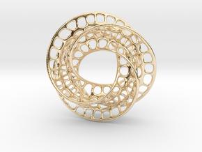 3 quarter twist Möbius strip in 14k Gold Plated Brass