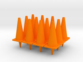 "TC2, Traffic Cones, 1"" Tall, 12 pcs in Orange Processed Versatile Plastic"