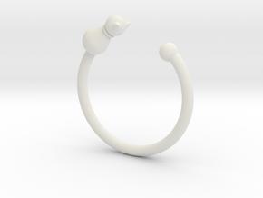 貓戒指.stl in White Natural Versatile Plastic