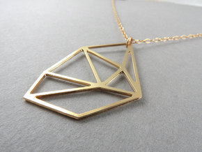 Bent Hex Droplet Necklace in 14k Gold Plated