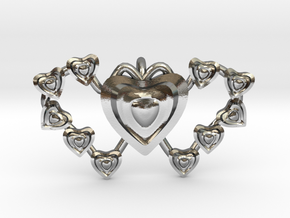 Valentine's 2 hearts Pendant in Polished Silver