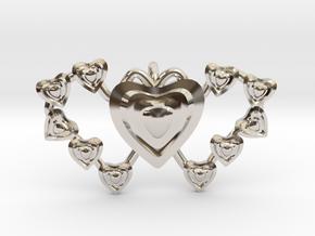 Valentine's 2 hearts Pendant in Platinum