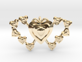 Valentine's 2 hearts Pendant in 14k Gold Plated Brass