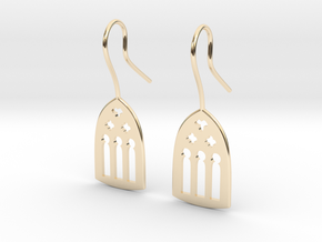 Cathedral Earrings in 14k Gold Plated Brass: Medium