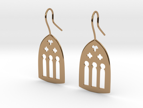 Cathedral Earrings in Polished Brass: Large
