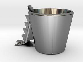 Dinosaur mug .stl in Fine Detail Polished Silver