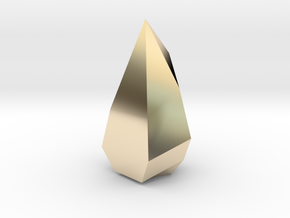 Low poly Crystal in 14k Gold Plated Brass