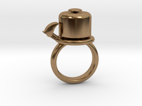 BIKE BELL RING - SIZE 6 in Natural Brass
