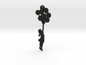 Balloon Girl Pendant in Black Natural Versatile Plastic