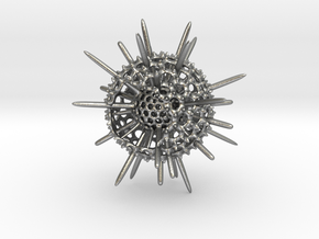 Spiky Spumellaria Sculpture - Science Gift in Natural Silver: Large