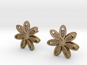 Spring Blossom 5 - Earrings in Polished Gold Steel