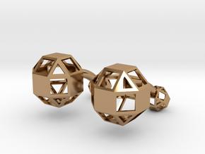 Rhombicuboctahedron cufflinks in Polished Brass