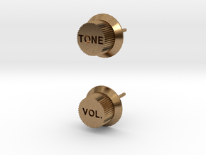 Guitar Knob Ear Stud in Natural Brass