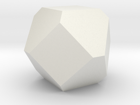 Cuboctohedral Fourteen-sided Die in White Natural Versatile Plastic