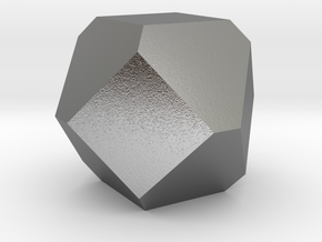 Cuboctohedral Fourteen-sided Die in Natural Silver