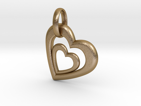 Heart in Heart Pendant 2 in Polished Gold Steel