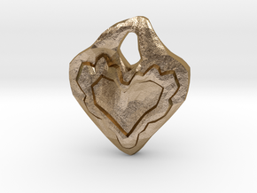 Swerve Heart Pendant in Polished Gold Steel