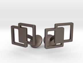Interlocking Cufflinks in Polished Bronzed Silver Steel