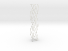 Curved Wire Spiral Triangle Shape S in White Natural Versatile Plastic